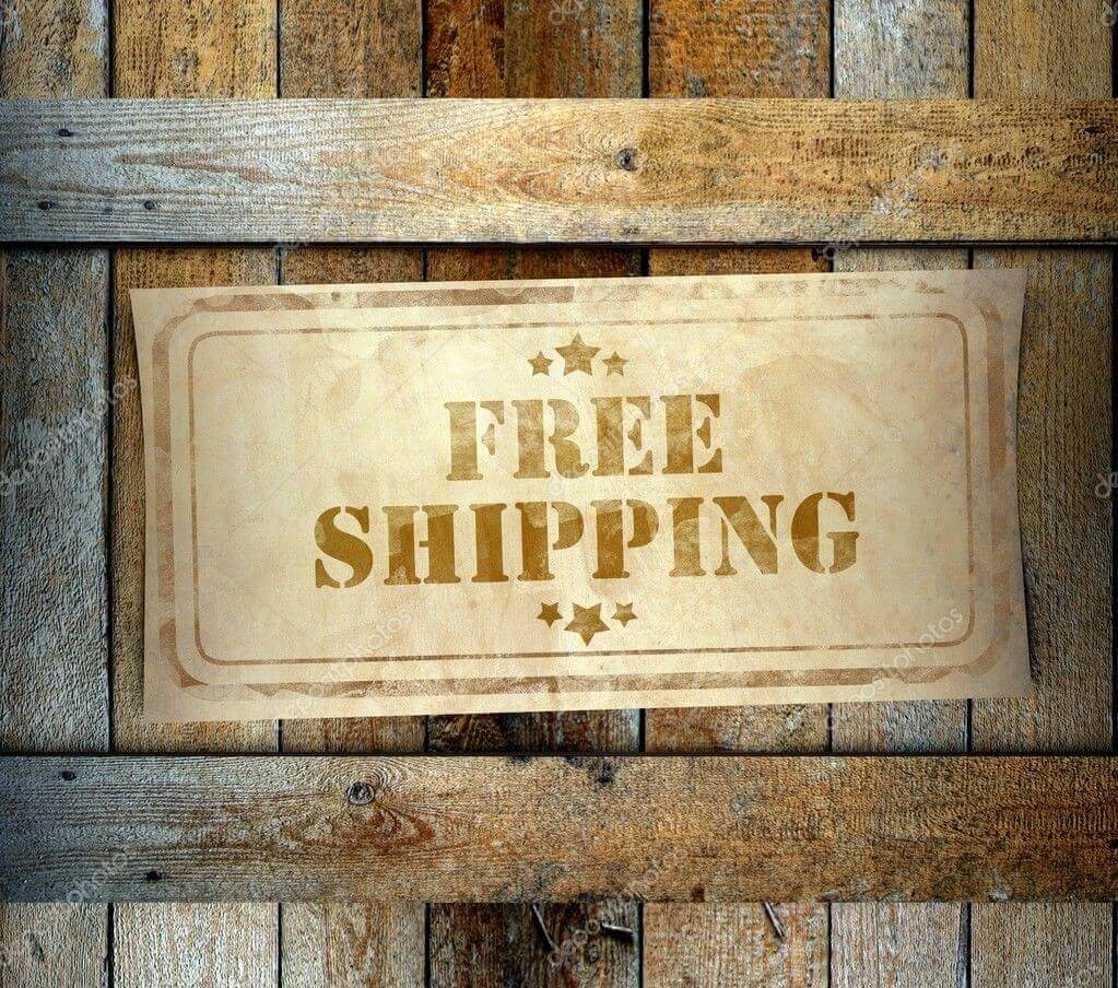 wooden sign imprinted with FREE SHIPPING