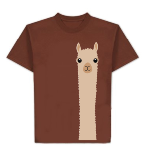 brown tshirt with picture of alpaca on it