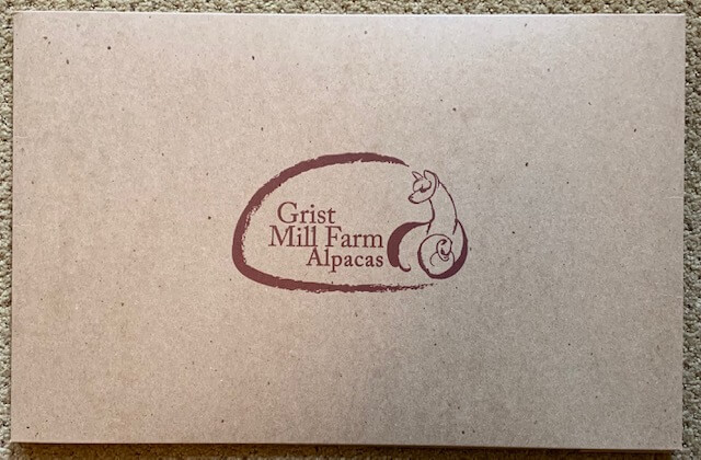 Top of Grist Mill Farm Alpacas branded gift box.