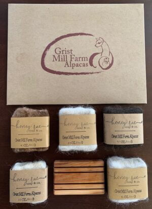 Alpaca 5 soap gift pack with cedar soap tray and branded box