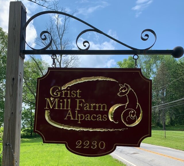 Grist Mill Farm road side sign